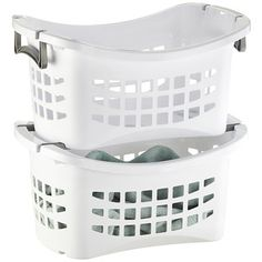 Stacking Laundry Basket  Pros: Easy to hold, especially going up stairs. no extra bags to mess with or clip  Cons: can't roll down the stairs takes up floor space