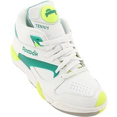e76ba34ee Reebok Unisex Court Victory Pump Tennis Shoe  Court Victory Pump Mens in  White Greey Citron.