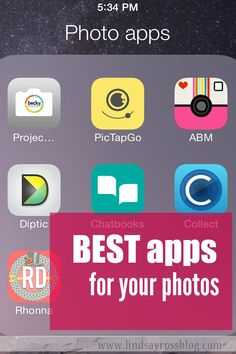 The BEST apps for all your photos.  Photo editing apps, photo documenting apps, apps to add words to photos, best instagram app, design apps.