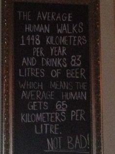 Km per beer drank