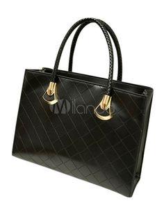 Saco de Tote couro PU acolchoado casual para as mulheres - Milanoo.com