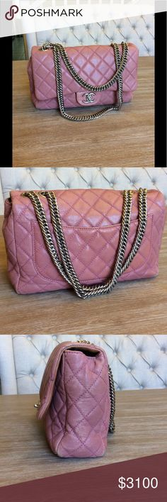 Chanel Classic Flap Pink Jumbo % Authentic beautiful  pink quilted lambskin handbag with silver hardware and Bijoux double chain straps. Can also be worn cross body. Shows some signs of been previously loved. Comes with original Chanel box and dust bag. An exquisite Limited Edition Chanel !! CHANEL Bags Shoulder Bags