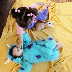 Boo and Sully have made it to our shop! handmade kids costumes. monster Inc costume. sibling costumes. Disney costume.
