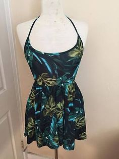NWOT American Apparel Dark Green Floral Tropical Stretchy Halter Dress Size S