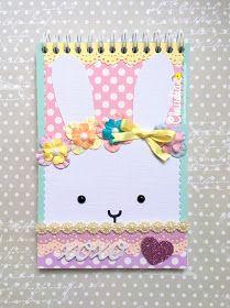 Trendy Retos - Abril - Requisitos: Libreta,  conejo y colores pastel. Papeles Abbondanza Fiesta Colección Lunares.