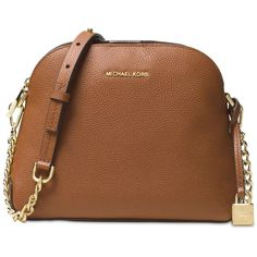 Michael Michael Kors Studio Mercer Medium Dome Messenger ($114) ❤ liked on Polyvore featuring bags, messenger bags, luggage, brown messenger bag, dome bag, michael kors bags and brown bag