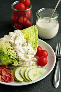 Try Homemade Blue Cheese Dressing! You'll just need cup mayonnaise, cup sour cream, 1 tablespoon milk, 2 tablespoons white wine vinegar, Salad Dressing Recipes, Salad Recipes, Do It Yourself Food, Dips, Blue Cheese Dressing, Good Food, Yummy Food, Tasty, Cooking Recipes