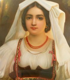 Berlin KPM Porcelain Plaque ~ Depicting a beautiful young girl in traditional costume ~ Circa 19th century