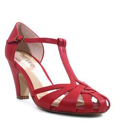 Look at this Chelsea Crew Red Sergi T-Strap Pump on #zulily today!