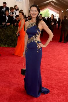 Wendi Murdoch in an Oscar de la Renta dress,Met Gala 2015...Imagine this in bridal tones with embellishments that fit your wedding theme. Pick 1-3 details that fit your style to design that unique bridal look. Work with a seamstress to achieve that special look.
