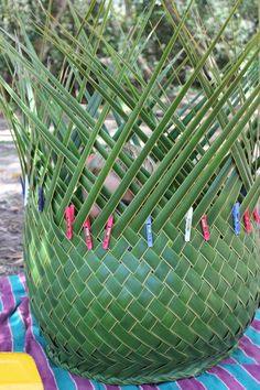 Posts about coconut palm weaving tutorial written by rosalindentree Flax Weaving, Willow Weaving, Basket Weaving, Hand Weaving, Rope Basket, Palm Frond Art, Palm Fronds, Weaving Process, Weaving Techniques