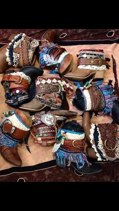 Medida de orden - imitación cuero Hippie Hipster bohemio reelaborado botas vaqueras 6-10