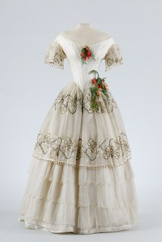Evening Dress with Pearls and Silk Flowers, ca. 1850