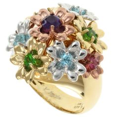 @Overstock - Amethyst, Swiss blue topaz, pink tourmaline and chrome diopside ring  Sterling silver jewelry  Click here for ring sizing guide http://www.overstock.com/Jewelry-Watches/Michael-Valitutti-Kristen-Gold-over-Silver-Multi-Gemstone-Flower-Ring/7472506/product.html?CID=214117 $124.99