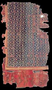 Historical Seljuk / Seljuq rugs and carpets Seljuk rug fragment, 13th century, Konya, Turkey. Turk ve Islam Eserleri Muzesi, Istanbul. inv. no: 683. 135 x 222 cm