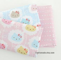 Cute Baby Pink Blue Cotton With Pastel Cats Hello Kitty Cotton Fabric Kids Children Fabric Curtain Quilting Lining Fabric