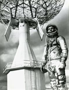 Astronaut John Glenn wears his Mercury spacesuit at Cape Canaveral, Fla., before his history-making flight in February 1962. Akrons B.F. Goodrich Co. made the 20-pound suit, which had 1,600 pieces. (Beacon Journal file photo