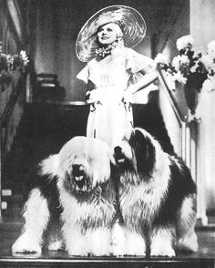 Jean Harlow and Old English Sheepdogs