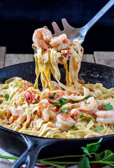 This Fettuccine with Shrimp Sauce recipe is out of this world! So rich, creamy and delicious. Serve it as a first course or main dish meal.