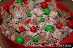 Holiday Puppy Chow, regular puppy chow with red and green M&M's