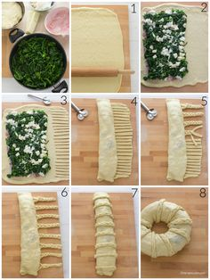 step by step corona_salata, pan brioche, bread ring puff Pastry