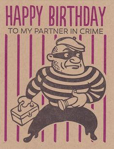 BLACK HEART LETTERPRESS HAPPY BIRTHDAY PARTNER IN CRIME GREETING CARD $5.00 #card #greetingcard #happybirthday