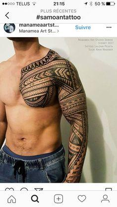 unique Tattoo Trends - Freehand polynesian tattoo, full sleeve and chest. Tribal Tattoos For Men, Tribal Sleeve Tattoos, Best Sleeve Tattoos, Arm Tattoos For Guys, Trendy Tattoos, Popular Tattoos, Body Art Tattoos, Tribal Henna, Buddha Tattoos