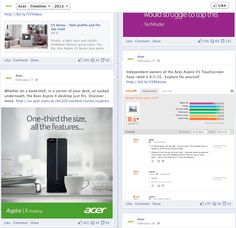 Acer encourages people to read Reevoo ratings and reviews on their Facebook page.