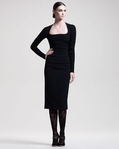 Long-Sleeve Cady Dress & Lace Stockings by Dolce & Gabbana at Bergdorf Goodman.