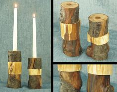 Set of two modern rustic tree branch candlesticks by shiningcity made from two different kinds of trees, with varying layers of bark carved away to reveal gorgeous wood tones and bark patterns. || Modern wood candle holders for votives or taper candles.