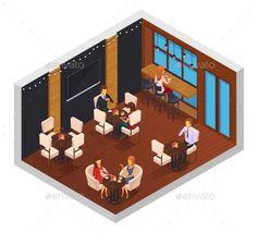 Cafe Restaurant Isometric Interior