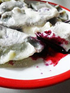 My all time favorite! No one makes these like my mom Anna! Blueberry pierogi