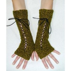 Fingerless Gloves Long Luxurious Texting gloves in Moss Green with... ($36) ❤ liked on Polyvore featuring accessories, gloves, victorian fingerless gloves, victorian gloves, wet look gloves, long suede gloves and long fingerless gloves