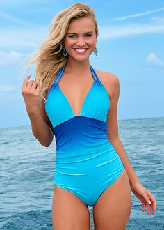 Tie halter two ways, added ruching for a flattering effect! Venus alluring one-piece.