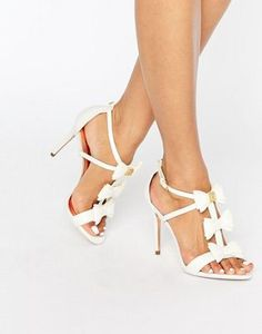 Ted Baker Appolini Ivory Bow Heeled Sandals