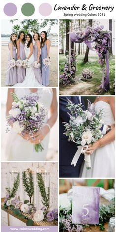 Lavender + Greenery Wedding: bridesmaid dresses, lilac flowers and cloth decorate altar, lavender bouquets and table number cards. colors greenery Top 8 Spring Wedding Color Combos for 2021 Lavender Wedding Colors, Lavender Bridesmaid Dresses, Spring Wedding Flowers, Lavender Weddings, Lilac Wedding Themes, Wedding Ideas, Lavender Wedding Bouquets, Wedding Colors For Spring, Wedding Trends