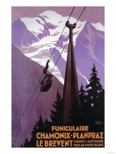 Reclameposter wintersport kabelbaan Chamonix, Frankrijk Kunstdruk