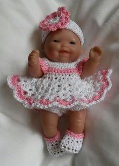 """Hand Crochet Dress Set For 5"""" Berenguer Baby Doll Ooak Itty Bitty Cupcake #Berenguer"""