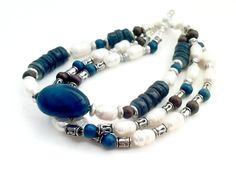 Freshwater pearl bracelet, multi strand, blue boho bracelet, blue agate bracelet, rivershell, wood beaded bracelet, boho jewelry by barefootcreekgifts on Etsy