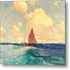 Paintings I Love, Seascape Paintings, Landscape Art, Landscape Paintings, Landscapes, Edgar Payne, Fine Art Amerika, Boat Painting, California Art