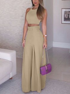 Solid Crop Top & Self-Belt Wide Leg Pant Sets. Women 2019 Fashion Elegant Formal Office Sleeveless Casual Suit Sets Ladies Solid Crop Top & Self-belt Wide Leg Pant Sets Overview: Gender: Women Material: Polyester Sleeve Length(cm): Sleeveless S Classy Outfits, Chic Outfits, Trendy Outfits, Summer Outfits, Beautiful Outfits, Summer Dresses, Trend Fashion, Look Fashion, Womens Fashion