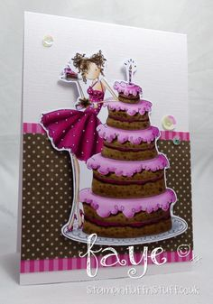 stamping bella uptow girl bianca has a big cake 16th Birthday Card, Kids Birthday Cards, 80th Birthday, Handmade Bday Cards, Tarjetas Pop Up, Recipe Scrapbook, Big Cakes, Family Birthdays, Love Stamps