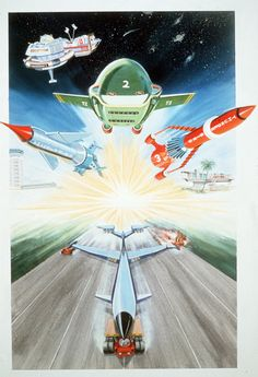 """gerryanderson: """"Artwork for the Thunderbirds compilation film Thunderbirds to the Rescue. Cool Cartoons, Cartoon Fun, 60s Tv Shows, Thunderbirds Are Go, Pokemon, Lost In Space, Kid Rock, Classic Tv, Science Fiction"""