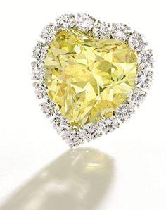 """The Windsor Heart"" Fancy Intense Yellow Diamond Pendant, 47.14 carats."