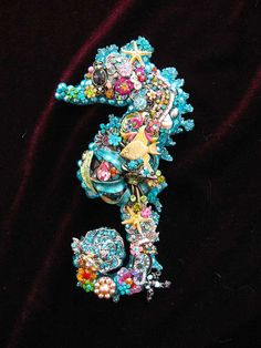 Vintage Jewelry Collage Sculpture Ula Seahorse Ocean Blue Decorative Art