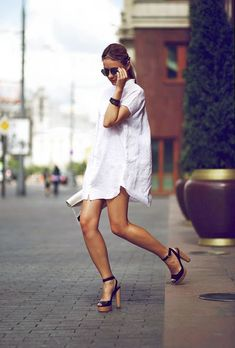 white shirtdress + heels