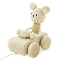 Say hello to Teddy! Just one of the adorable pull along toys from our wooden toy collection. Teddy is caring and patient and will happily spend hours driving behind your little one as they pull him along taking him on their next adventure. Pull along toys are perfect for when you're child is on the move. They encourage