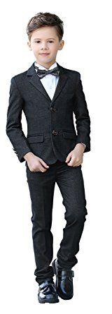 Yuanlu Boys Velvet Formal Suits 5 Piece Slim Fit Dresswear Suit Set Size 2 Gray