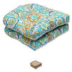 Pillow Perfect Outdoor Bronwood Wicker Seat Cushion (Set of 2) (Carnival), Multi (Polyester, Floral), Outdoor Cushion