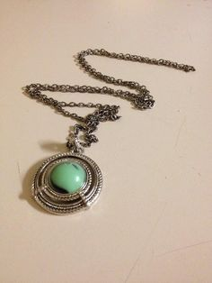 Gorgeous Green Pendant Necklace by originalsbyem on Etsy Green Pendants, Beautiful Necklaces, Antique Silver, Turquoise Necklace, My Etsy Shop, Pendant Necklace, Chain, Elegant, Antiques
